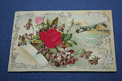 Vintage Postcard Red Silky Rose & Mountain Scene                     a