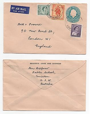 1959 AUSTRALIA QEII Air Mail Cover CONISTON - LONDON Uprated 5d Stationery SG322