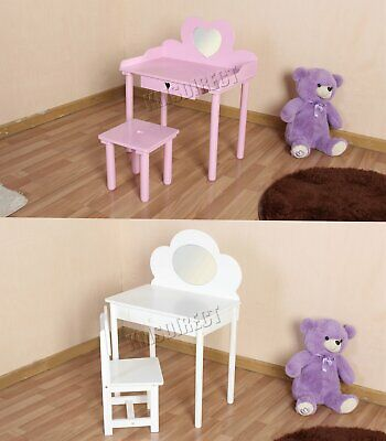 FoxHunter Kids Girls Dressing Table Chair Set Makeup Vanity Mirror Bedroom MDF