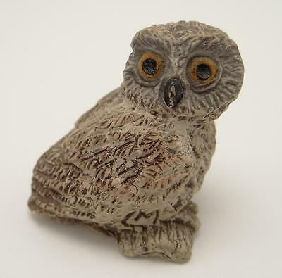 """Owl Seated On Branch Figurine 1 1/4"""" Wise Old Bird Cast Resin"""