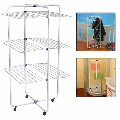 3 Tier Indoor Outdoo Portable Tower Clothes Airer Dryer Washing Line Horse Rail