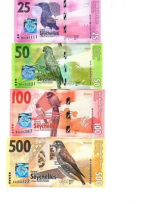 SEYCHELLES SET 4 UNC 25 50 100 500 RUPEES ND 2016 P NEW FAMILY DESIGN Colorful