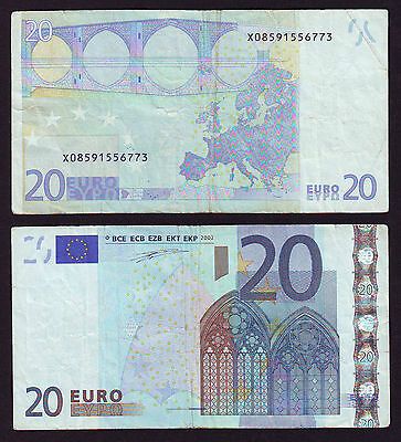 Germany 20 Euro 2002 Duizenberg Signature X08591556773 Printer P008B5 Used (002)