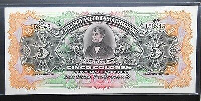 1911 Costa Rica 5 Colones Remainder. Colorful, Gem Unc. High Grade Large Note.