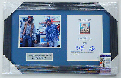 Cheech & Chong Signed Up In Smoke Script Cover Framed Matted JSA Auto