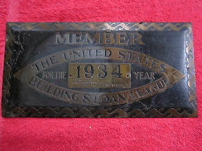 1934 Member United States Building & Loan League, Banking Financing Brass Sign