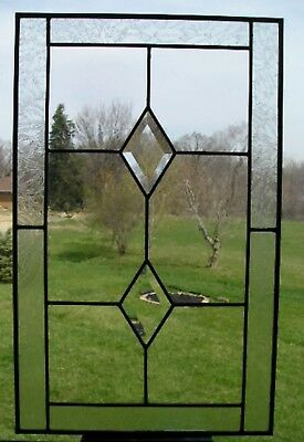 Clear Beveled Diamonds Leaded Stained Glass Panel Window Cabinet Door Glass