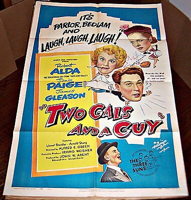 Two Gals & A Guy (1951) Robert Alda & Janis Paige Orig 27X41 1-Sheet Poster