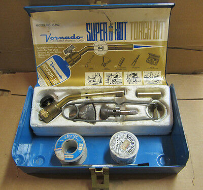"LP Gas Torch Kit: Sparker Torch w/ tips, 1/4"" Copper Soldering Iron Solder Flux"