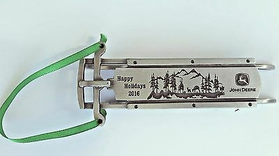NEW John Deere 2016 Happy Holidays Pewter Sled Ornament by SpecCast LP67232 ***