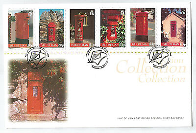 ISLE OF MAN 1999 LOCAL POST BOXES SET of 6 on FIRST DAY COVER