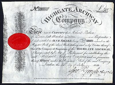 Highgate Archway Company, £50 share, 1810, on vellum