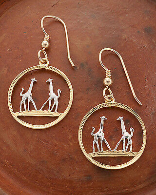 "Giraffe Coin earrings. Rhodesia Coin Hand cut - 3/4"" diameter, ( # 266E )"