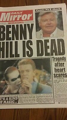 Daily Mirror Newspaper 1992, BENNY HILL DEAD, CONCERT FOR FREDDIE MERCURY