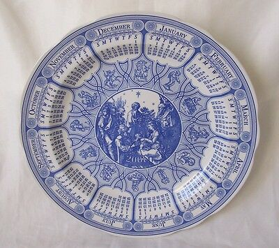 Spode Nativity Calendar Plate Blue and White China from The Spode Blue Room 2001