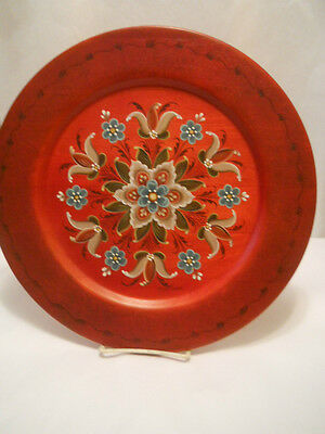 Norwegian Red Wall Art Rosemaling 13 Inch Plate  Artist Signed Euc