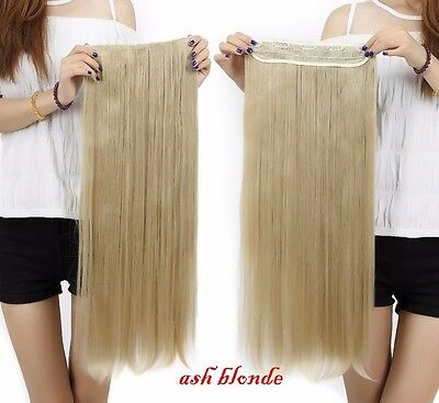 "100% Long real Thick 3/4 full Head Clip in Hair Extension 30""straight ash blonde"