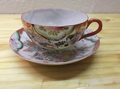 Hand Painted Antique Japanese Eggshell Porcelain Floral Lady Cup & Saucer