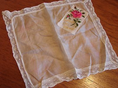 Vintage,antique embroidered silk,lace edged handkerchief souvenir of France