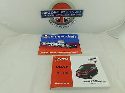 Toyota Voxy 2001-2007 all models Owner's Handbook & Service Record Booklets