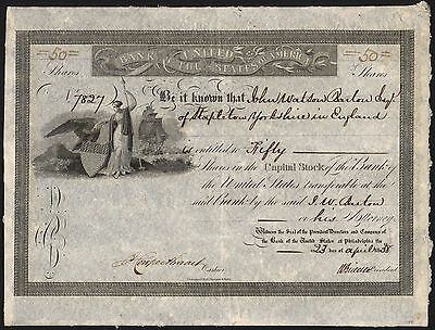 Bank of the United States of America, shares, signed Nicolas Biddle, 1838