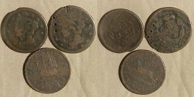 2 Large Cents & 1 Hard Times Token: Low Grade