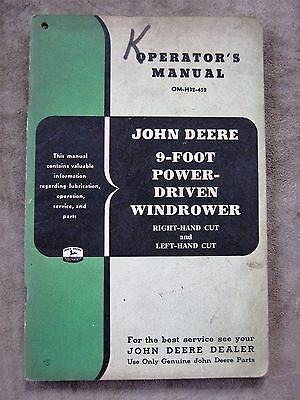 John Deere 9 Foot Power Driven Windrower Operators manual