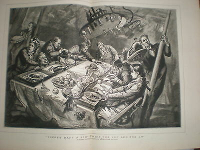 Dinner on the Atlantic in a half-gale 1879 print