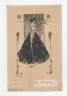 Early A French  signed Art Nouveau Glamour Postcard 1904