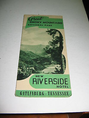 1950s GATLINBURG TENNESSEE BROCHURE NEW RIVERSIDE HOTEL ,SMOKY MOUNTAINS PARK