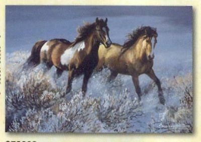 Xmas Cards Galloping HORSE PAIR Snow Scene Holiday Cards 10 per box