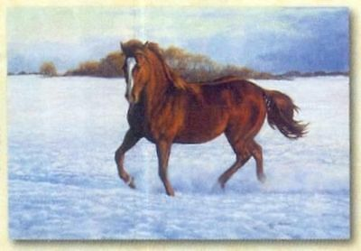 Xmas Cards Trotting CHESTNUT HORSE Snow Scene Holiday Cards 10 per box