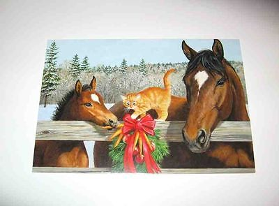 Xmas Cards MARE/FOAL Looking over Fence Holiday Cards 10 per box