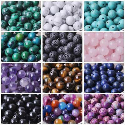 Hot Gemstone Stone Round Loose Beads lot 4mm 6mm 8mm 10mm DIY Jewelry Making