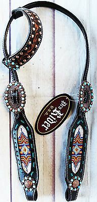 Horse Bridle Western Leather Headstall Show Rodeo Tack Beaded Bling WOW! 7984HA