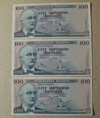 ICELAND# Lot of 3 banknotes uncirculated.