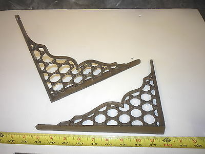 2 Old Antique Style Cast Iron Honeycomb Wall Shelf Bracket Hanger