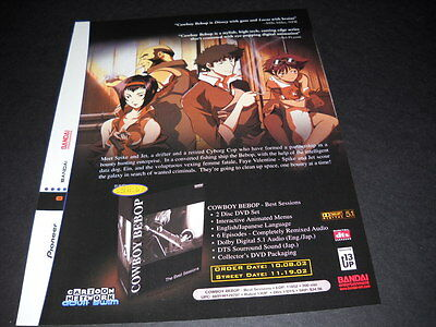 COWBOY BEEBOP Rare seldom seen Vintage ANIME Promo Ad mint condition