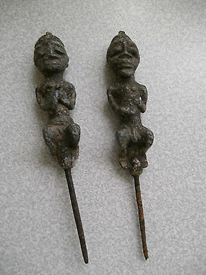 Pair Vintage  / Antique African Carved Figures- Man & Woman - Stone & Metal 8""