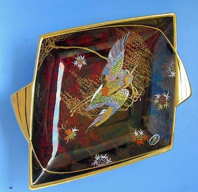 Carlton Ware Art Deco Sketching Bird Design Diamond Shape Rouge Royal Dish