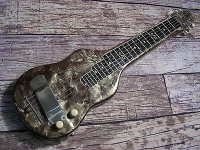 50s Vintage Magnatone Lap Steel Guitar Gray Pearloid Mother of Toilet Seat Pearl
