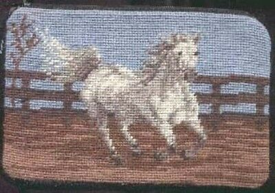 NP WHITE HORSE Needlepoint Cosmetic Bag CLEARANCE SALE