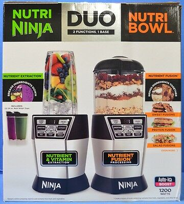 NEW Nutri Ninja Nutri Bowl Duo with Auto-iQ Boost Black 2 Functions NN100 30