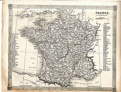 """ANTIQUE ALEXANDER GEORGE  FINDLAY MAP - """"FRANCE IN DEPARTMENTS"""" (c. 1860-70)"""