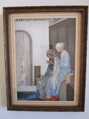 Vintage Religious Print In Carved Wood Frame Gilded Arts & Crafts Annunciation ?