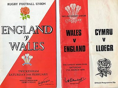 2 Wales v England Rugby Programmes 1979/80