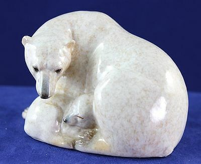 Polar Bear Mother with Sleeping Baby - Made to Look Like it is Hand Carved Stone