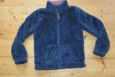 Fat Face navy fluffy fleece zip front jacket, age 8-9, excellent condition