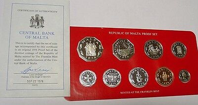 MALTA 1976 proof set of coins in box of issue.