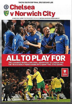Football Programme CHELSEA v NORWICH CITY May 2013 FA Youth Cup Final